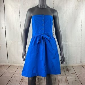 Theory blue Renadia strapless belted dress